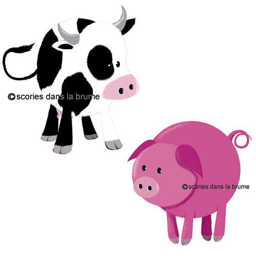 vache, cochon