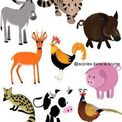 """Dispositif pédagogique (décors+animaux), exposition """"Animaux domestiques"""""""