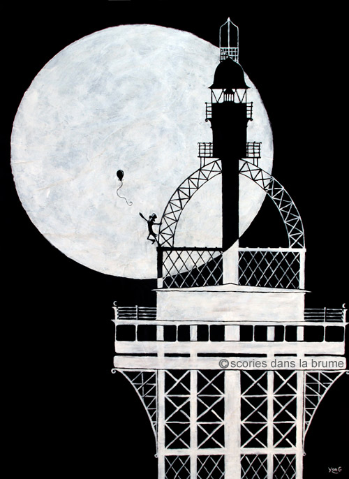 Paris, the moon, a balloon