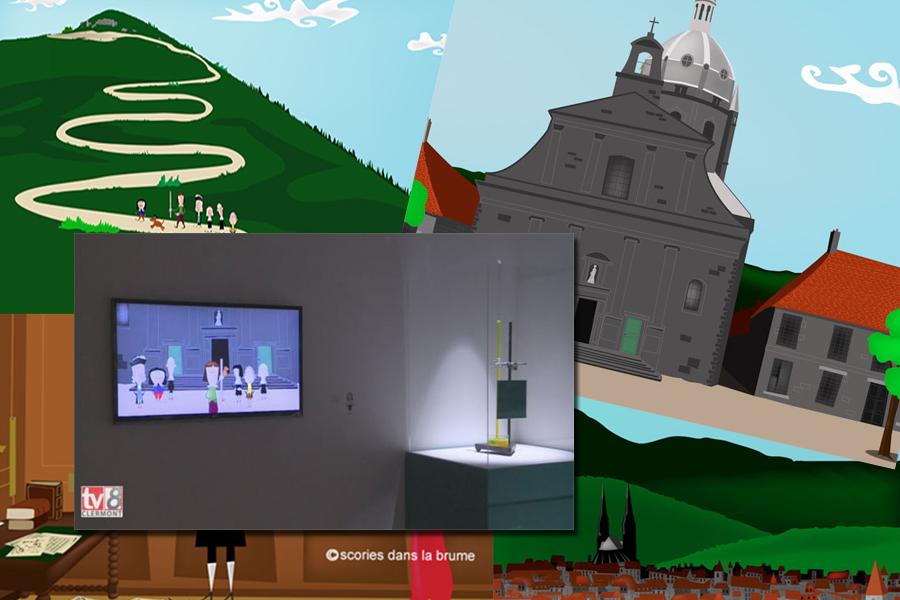 """Décors et personnages pour 2 films d'animation """"L'expérience du Puy de Dôme"""" - """"Le jardinier et la cycloïde"""""""