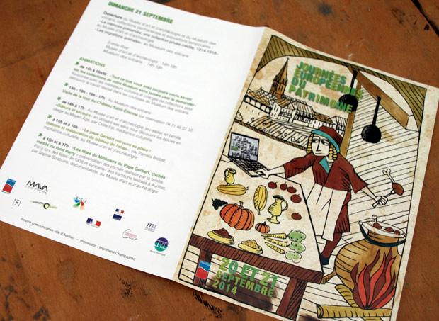 """Visuel, dépliant """"Journées européennes du patrimoine : gastronomie médiévale"""""""