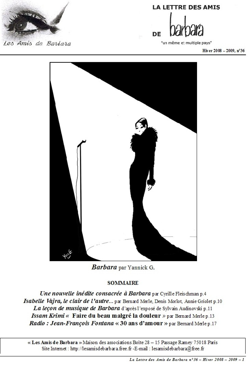 La lettre des Amis de Barbara - n°36 (visuel couverture)