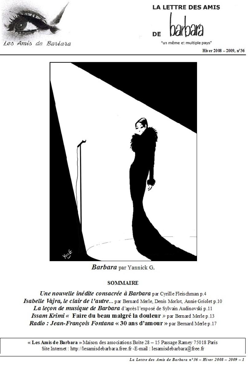 La lettre des Amis de Barbara - n°36 (couverture)