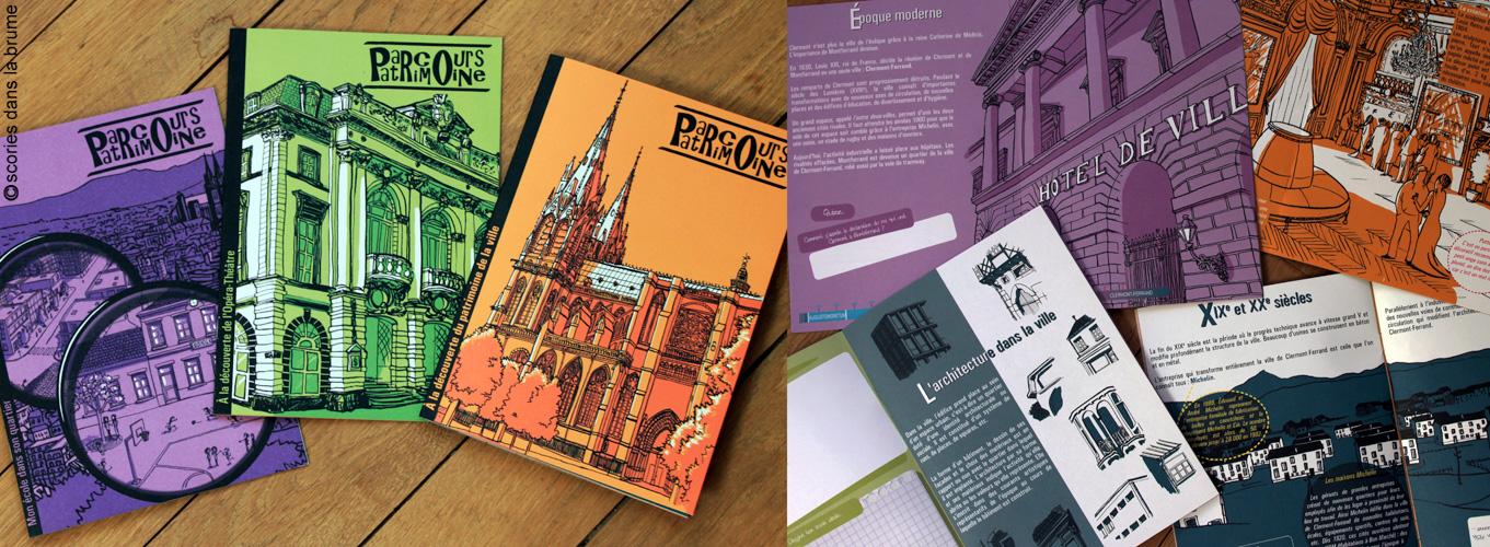 """Illustrations & conception graphique, livrets """"Parcours Patrimoine"""""""